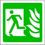 Running Man to Left with Flames Emergency Escape Sign