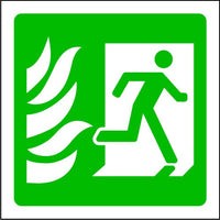 Running Man to Right with Flames Fire Exit Sign