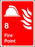 Numbered Fire point safety sign