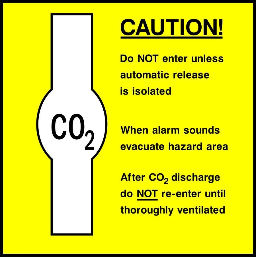 Caution CO2 Hazard area safety sign