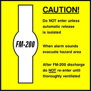 Caution FM-200 Hazard Area safety sign