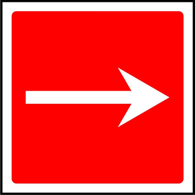 Straight Fire Arrow safety sign