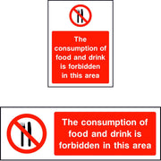 The consumption of food and drink is forbidden in this area sign