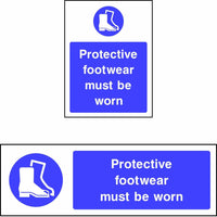 Protective footwear must be worn safety sign