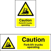 Caution Fork List Trucks Operating safety sign