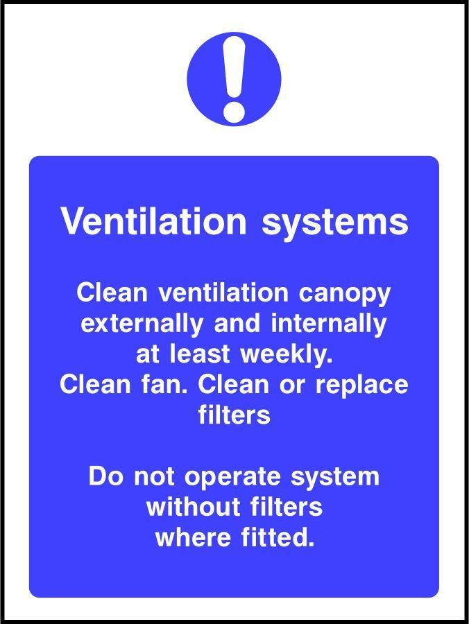 Ventilation system cleaning safety sign
