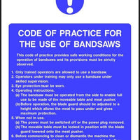 Bandsaw code of practice safety sign