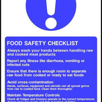 Food safety checklist sign
