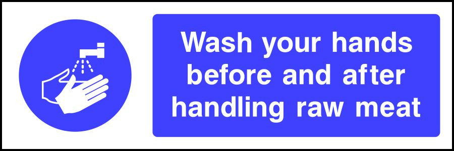 Wash your hands before and after handling raw meat safety sign