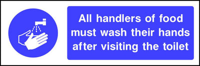 All handlers of food must wash their hands after visiting the toilet sign