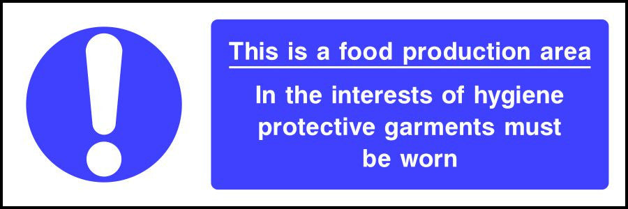 Food production area protective garments must be worn sign