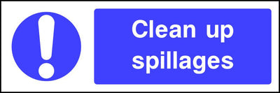 Clean up spillages food safety sign