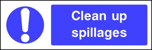 Clean up spillages safety sign