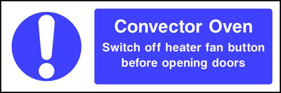 Convector Oven safety sign