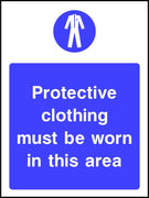 Protective clothing must be worn in this area safety sign