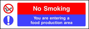 No smoking You are entering a food production area sign