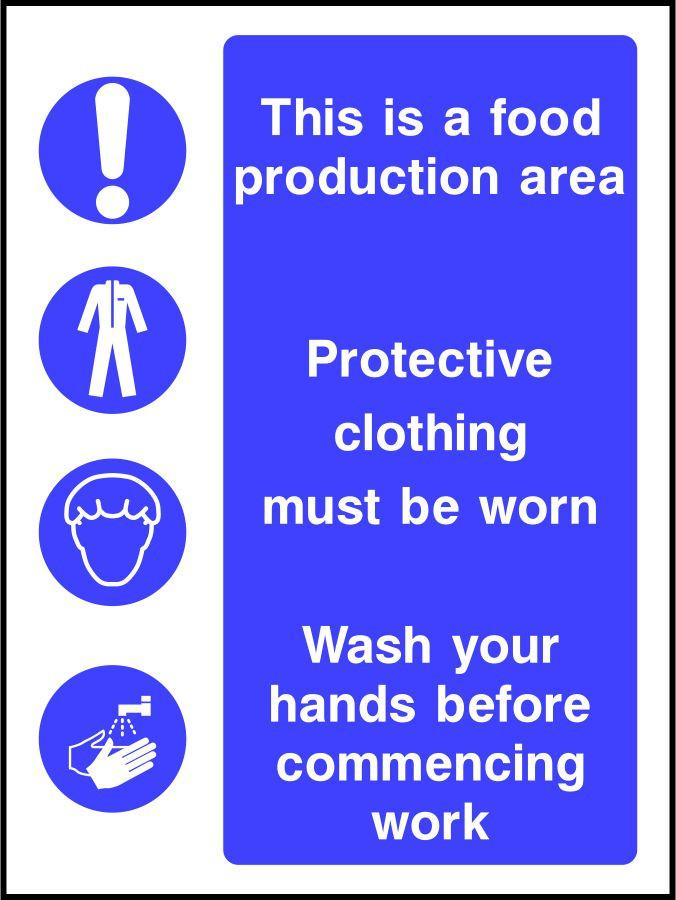 Food Production Area Personal Hygiene Safety Sign Sk