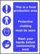 Food production area personal hygiene safety sign