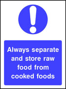 Raw and cooked food storage safety sign