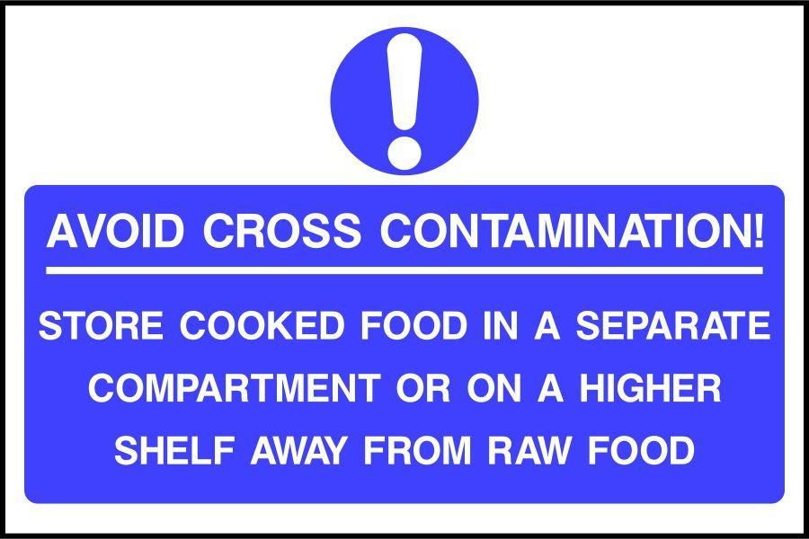 Avoid cross contamination food safety sign
