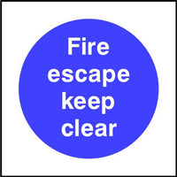 Fire escape keep clear safety sign