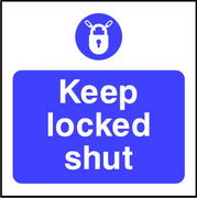Keep locked shut fire door safety sign
