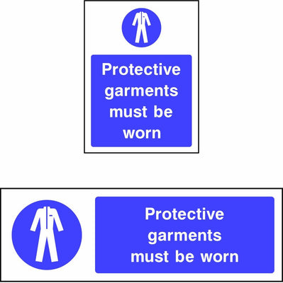 Protective garments must be worn safety sign