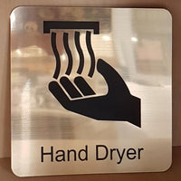 gold engraved hand dryer symbol sign