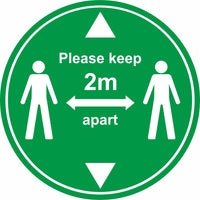 Green keep 2m apart with arrows floor sign
