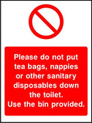 Use bins provided bathroom sign