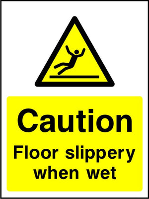 Caution Floor slippery when wet sign