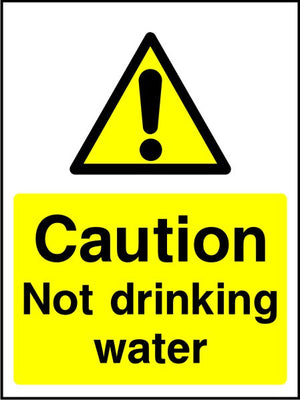 Caution Not drinking water sign