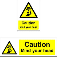 Caution Mind your head safety sign