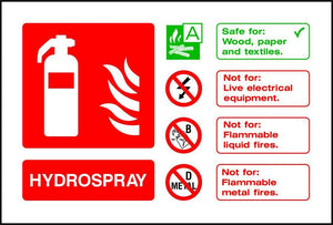 Hydrospray Fire Extinguisher Notice sign