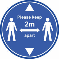 Blue keep 2m apart with arrows floor sign