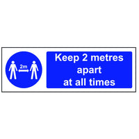 Keep 2 meters apart safety sign