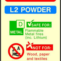 Photoluminescent L2 Powder Fire Extinguisher sign