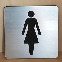 Engraved ladies toilet symbol sign