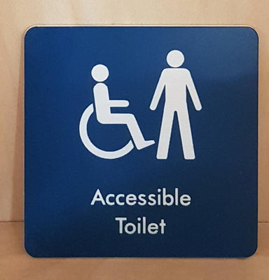 Emgraved male accessible toilet sign
