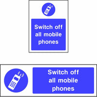 Switch off all mobile phones safety sign