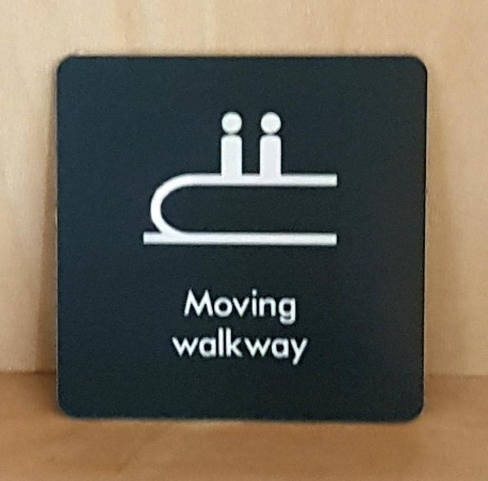 Engraved Moving walkway sign