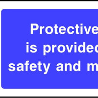 Protective clothing is provided for your safety and must be worn mandatory sign