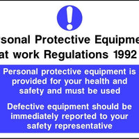 PPE Regs PPE provided for your safety defective equipment should be reported sign