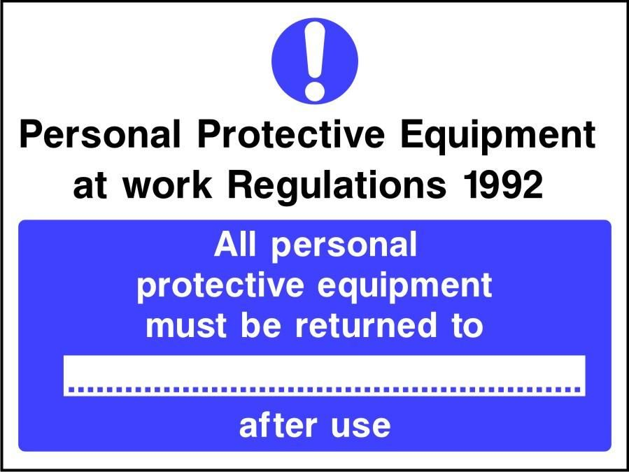 PPE Regs All PPE must be returned after use sign
