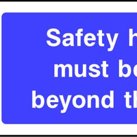 Safety helmets must be worn beyond this point safety sign