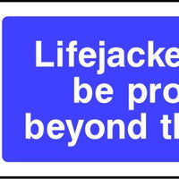 Lifejackets must be provided beyond this point safety sign