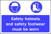 Safety helmets and safety footwear must be worn sign