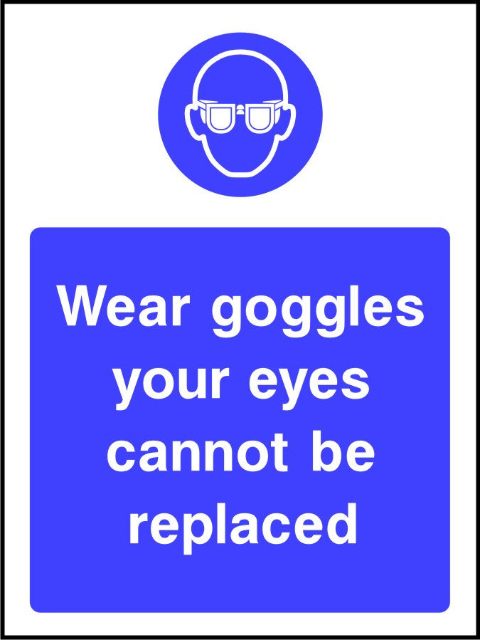 Wear Goggles Your Eyes Cannot Be Replaced PPE sign