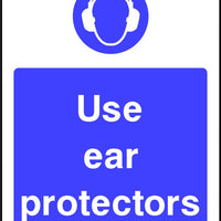 Use ear protectors mandatory safety sign