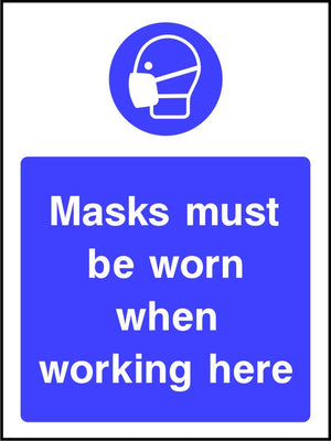 Mask must be worn when working here safety sign